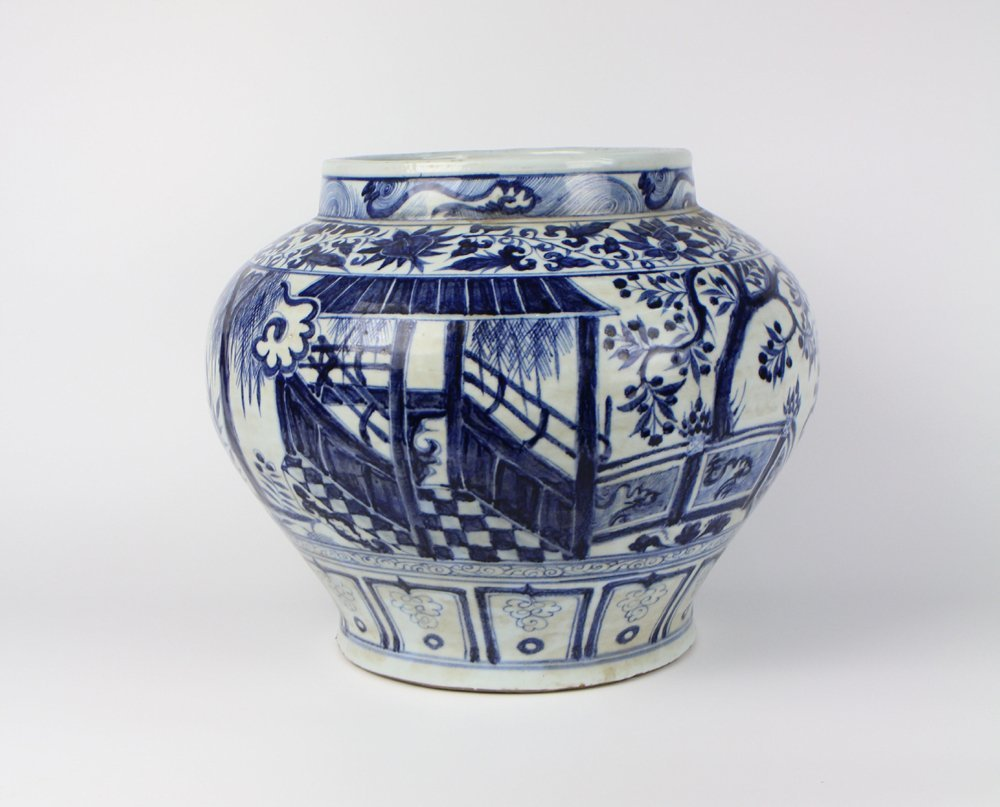 CHINESE PORCELAIN BLUE AND WHITE FIGURE JAR - 2