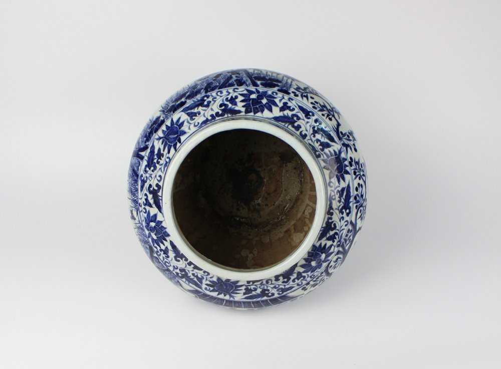 CHINESE PORCELAIN BLUE AND WHITE FIGURE JAR - 4