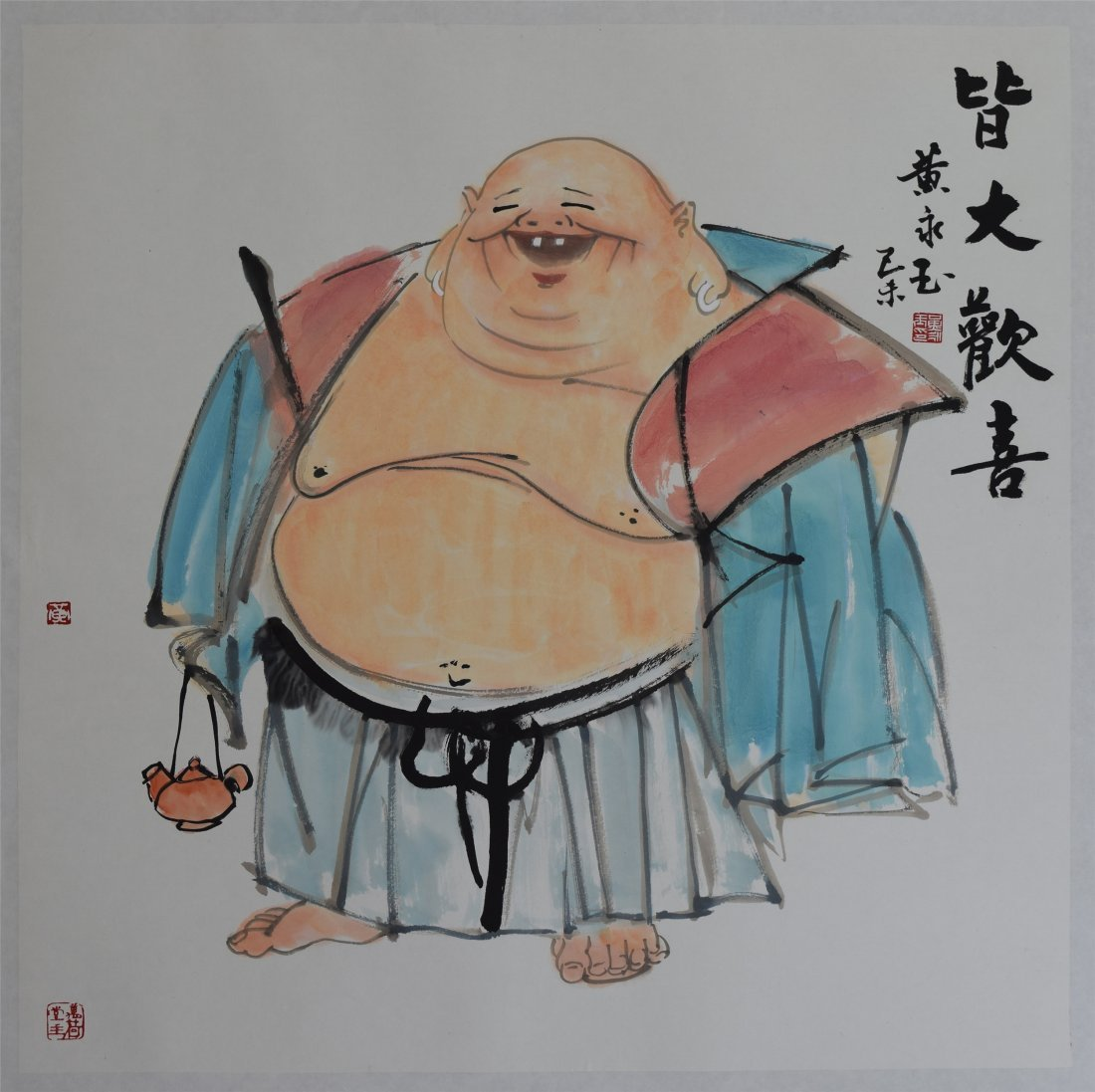 CHINESE SCROLL PAINTING OF LAUGHING BUDDHA