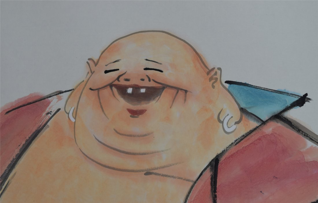 CHINESE SCROLL PAINTING OF LAUGHING BUDDHA - 3