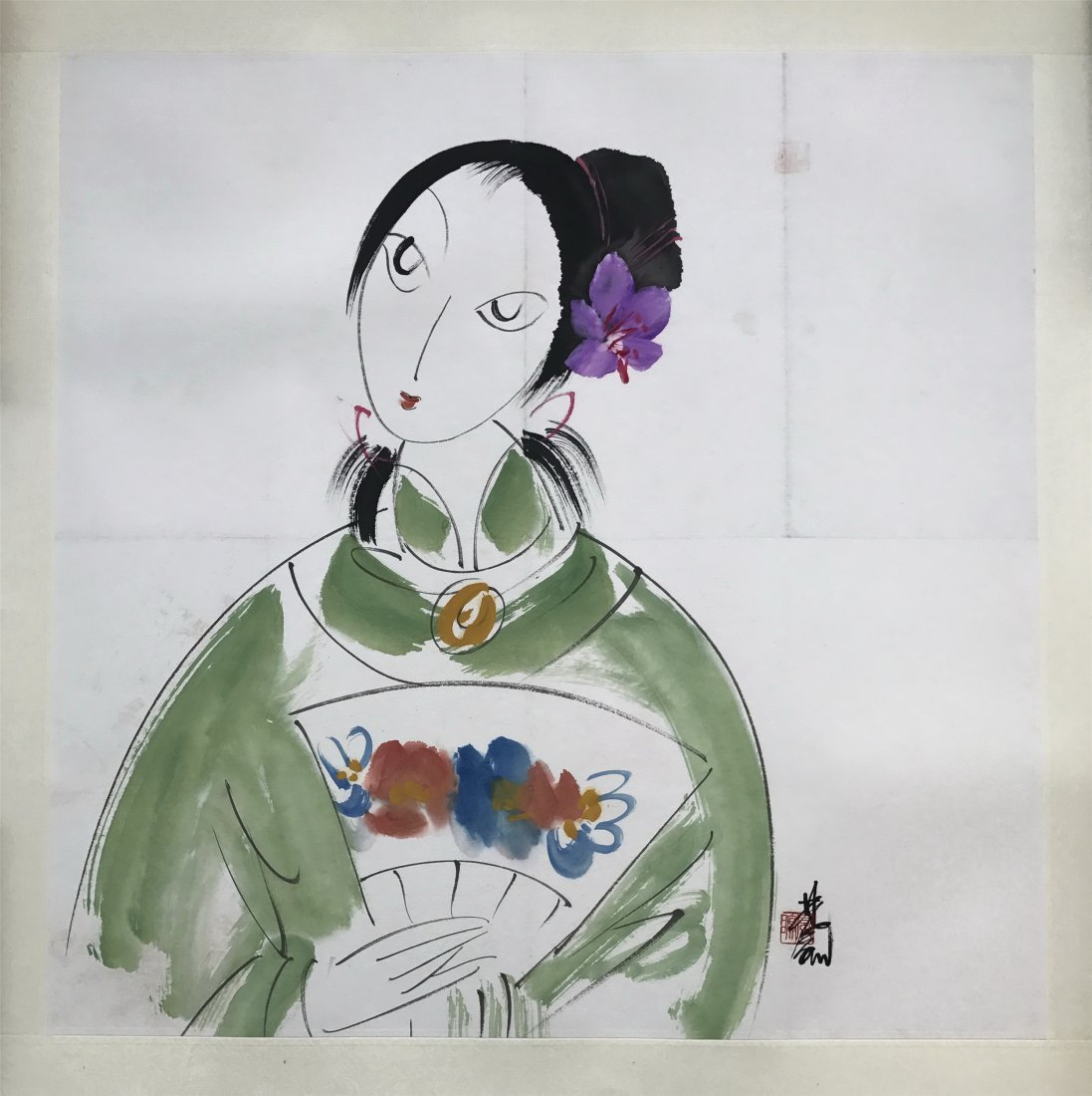 CHINESE SCROLL PAINTING OF LADY