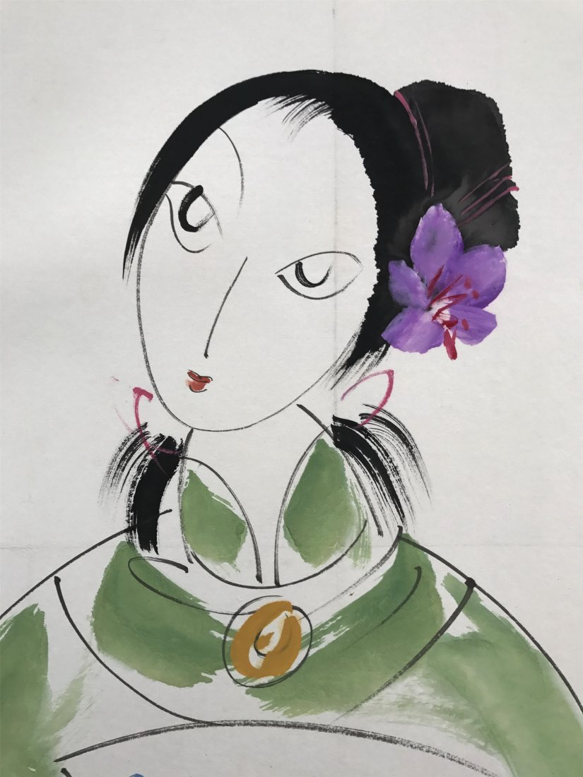 CHINESE SCROLL PAINTING OF LADY - 2