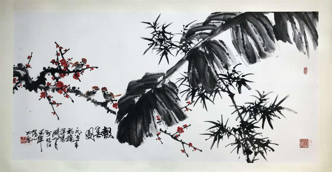 CHINESE SCROLL PAINTING OF BIRD ON LEAF