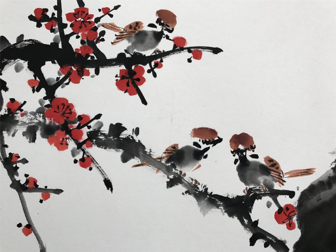 CHINESE SCROLL PAINTING OF BIRD ON LEAF - 4