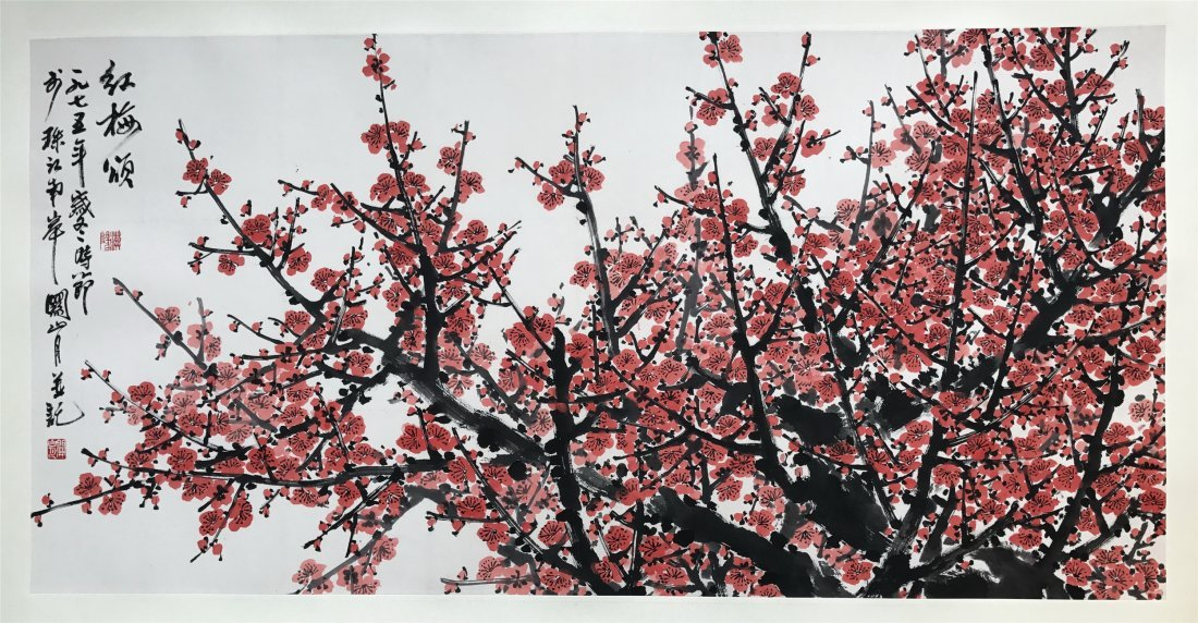 CHINESE SCROLL PAINTING OF PLUM