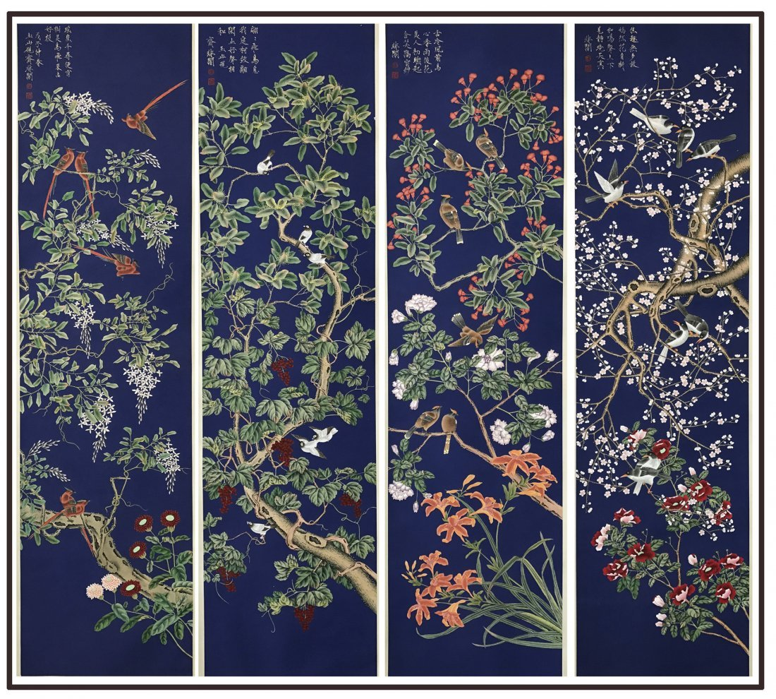 FOUR PANELS OF LARGE CHINESE SCROLL PAINTING OF BIRD