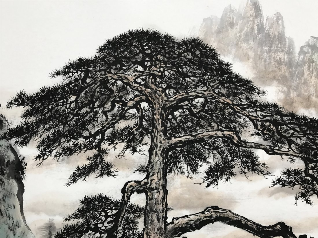 CHINESE SCROLL PAINTING OF PINE TREE AND MOUNTAINS - 2
