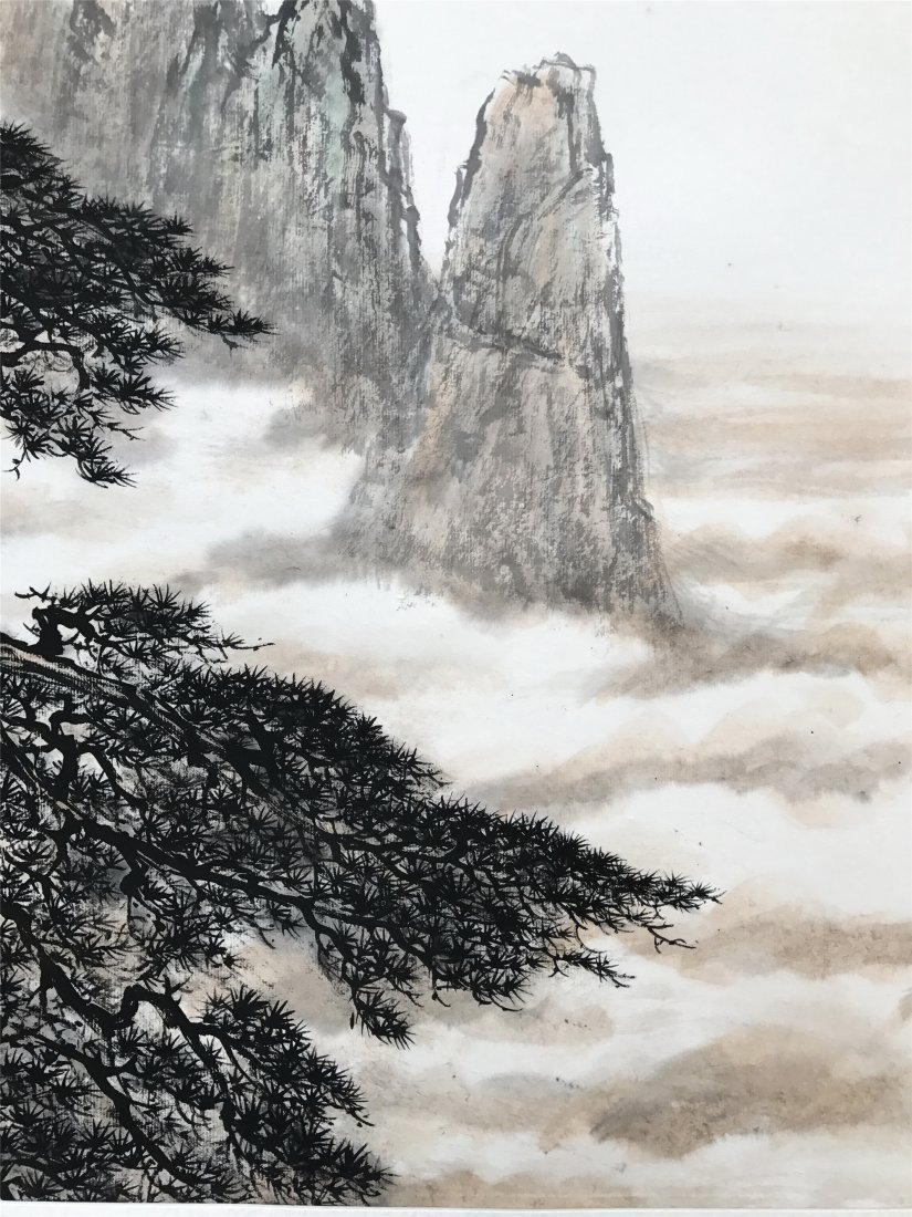 CHINESE SCROLL PAINTING OF PINE TREE AND MOUNTAINS - 4