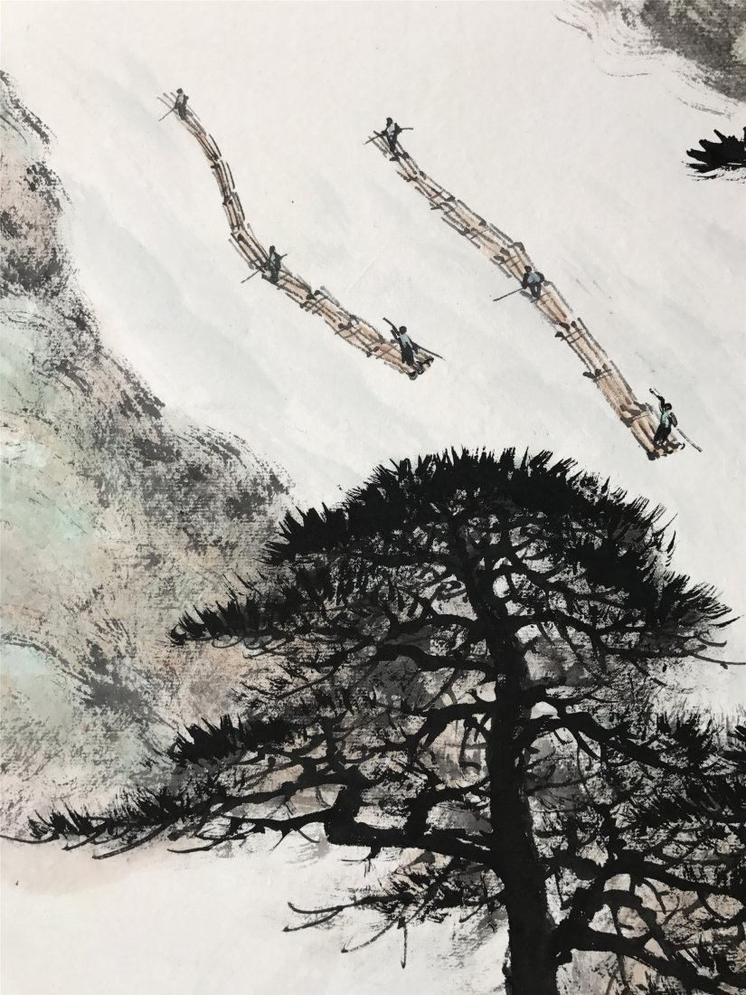 CHINESE SCROLL PAINTING OF PINE TREES BY RIVER - 3