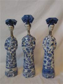 3 Porcelain Chinese Empress Statues Marked