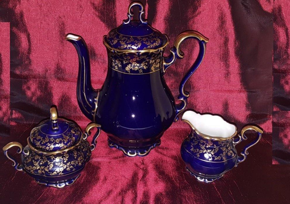 Vintage set of 3 Coffee, Milk and Sugar ECHT COBALT