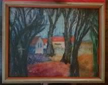 Expressionist landscape, signed Menkes