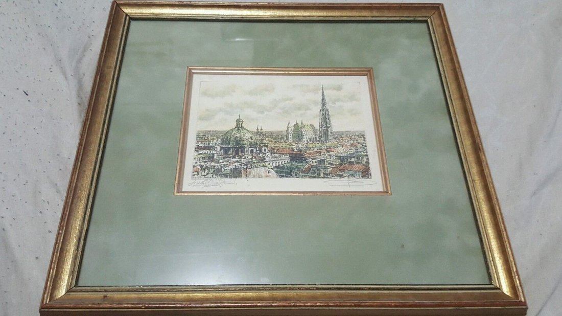 Gerson Kovacs Signed radierung etching, Wien Panorama,