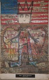 JM Basquiat Mixed Media Collage, Death of a hero