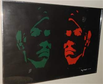 Andy Warhol, green and red hand made signed silkscreen