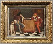 Oil on canvas painting, Two man playing chess