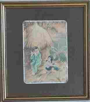 Tu Duyen (1915-2012) watercolor on silk