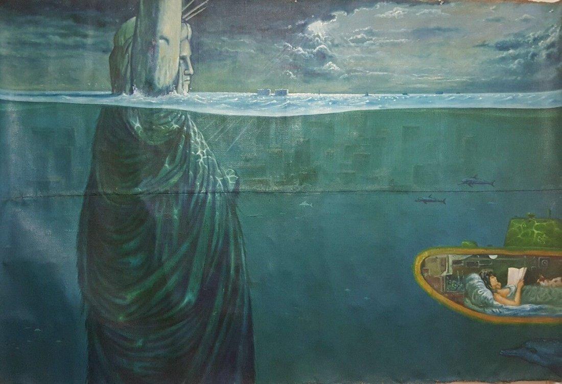 """Unknown artist  """"Manhattan hit by tsunami"""""""