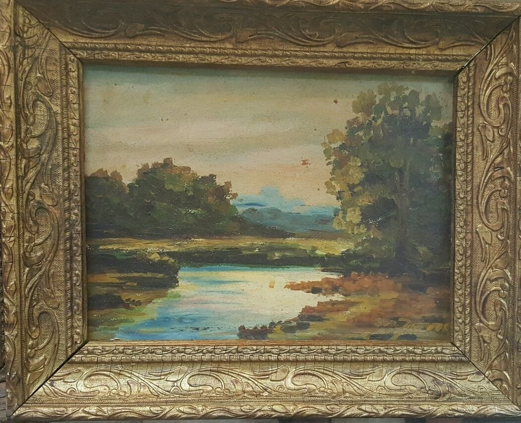 Oil on old board, illegible signature painting - 10