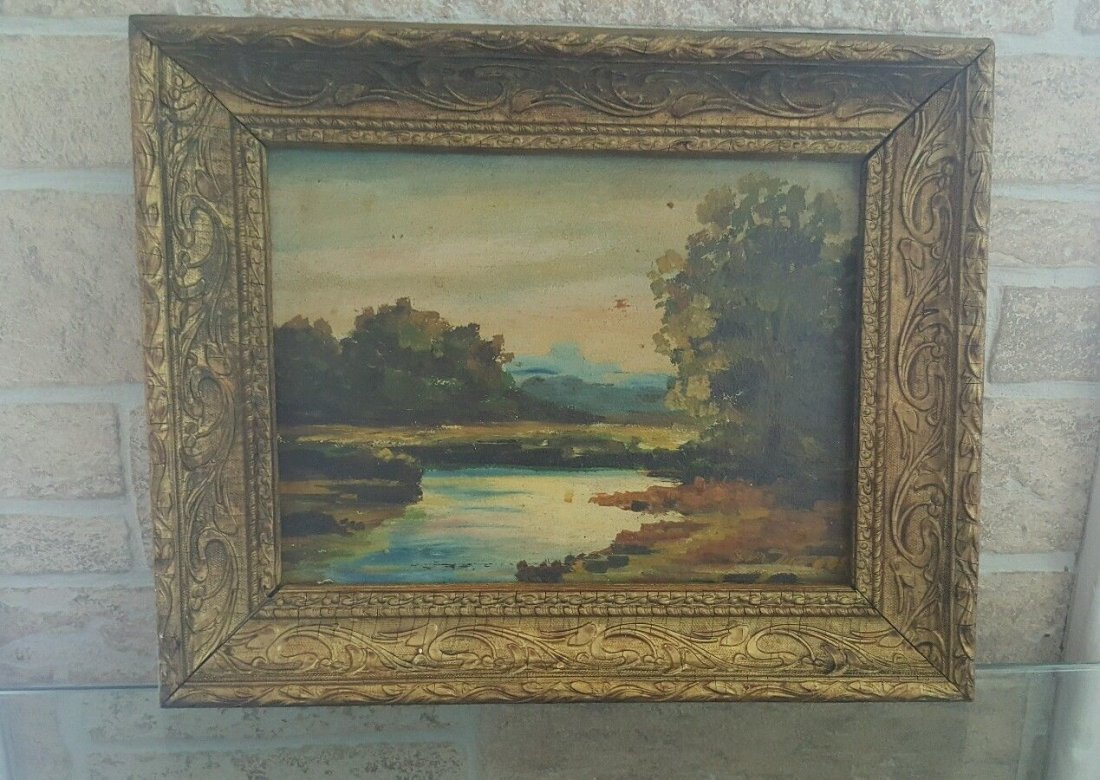 Oil on old board, illegible signature painting