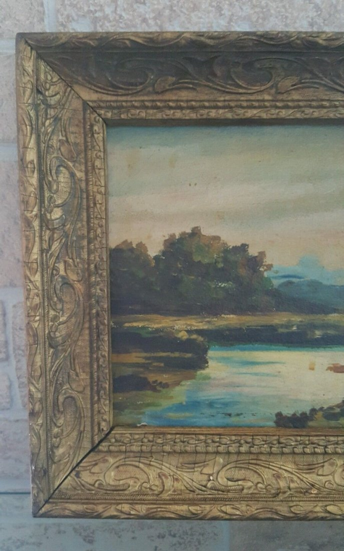 Oil on old board, illegible signature painting - 2