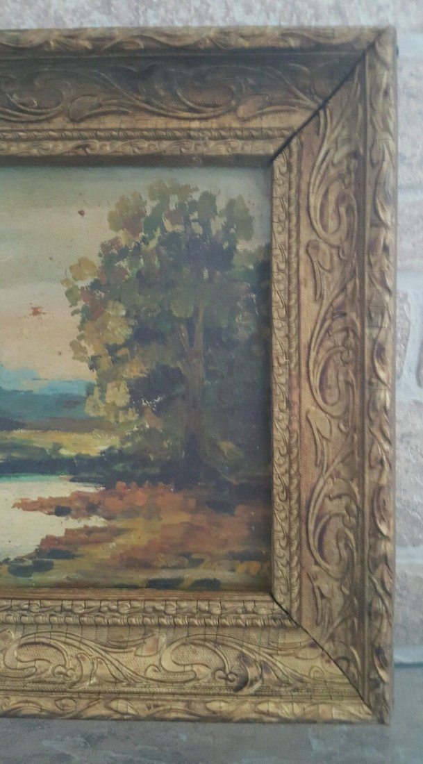 Oil on old board, illegible signature painting - 4
