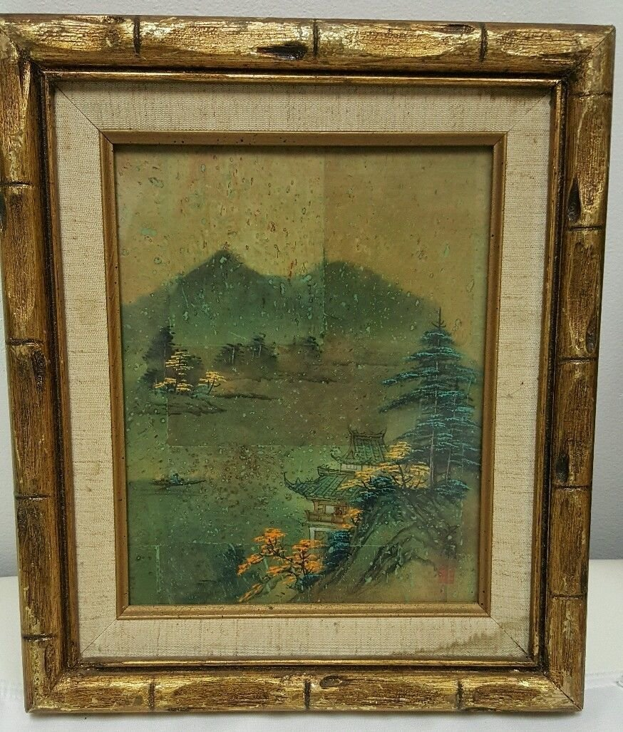 Chinese painting on cork, signed
