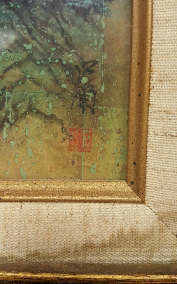 Chinese painting on cork, signed - 2