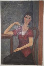 Modigliani oil on canvas signed and dated 1907,