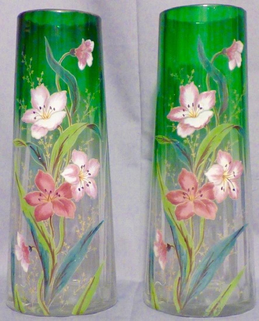 Pair of Enameled Glass Green-to-Clear Vases