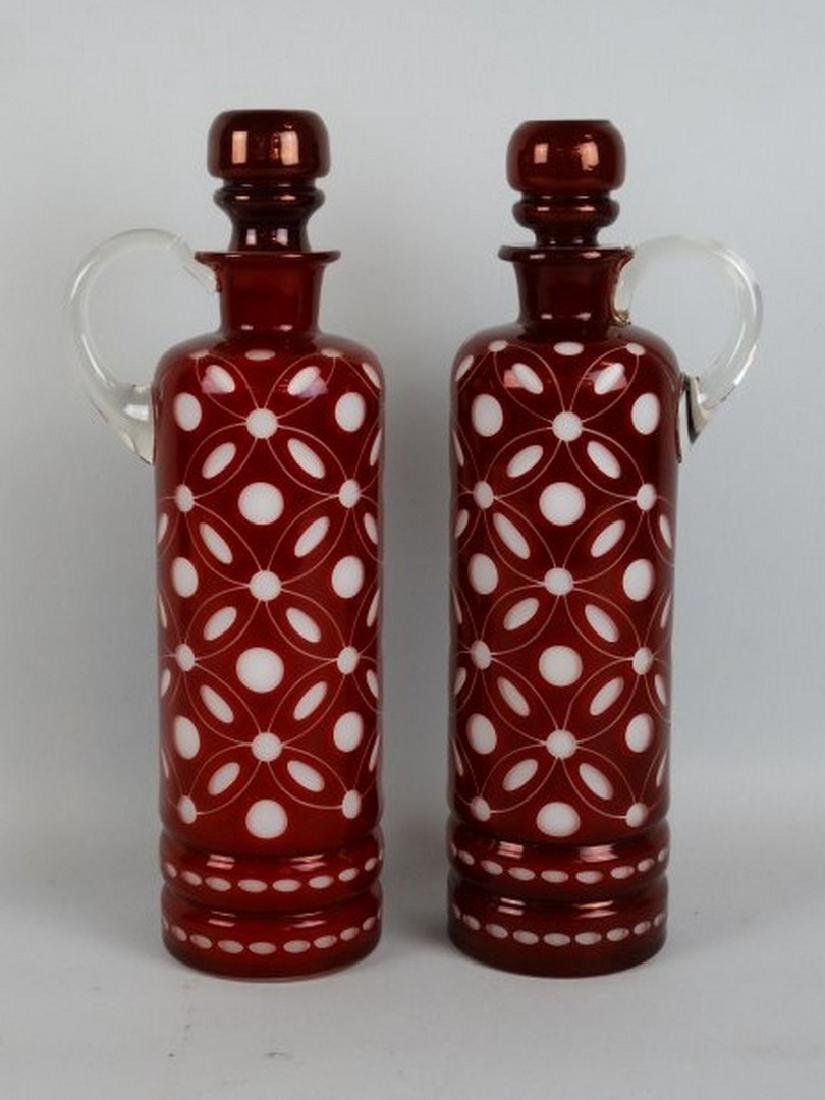 Pair of English Etched Glass Decanters