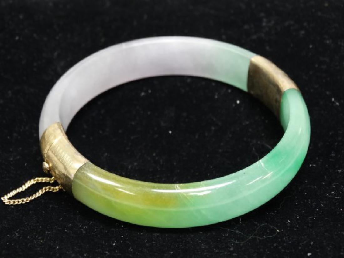Tri-Color Jade Bangle w/ 14K Gold Clasps