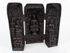 Carved Wooden Buddhist Travel Shrine