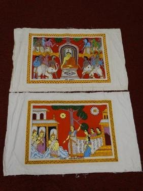 Lot of 2 Indian Paintings on Textile