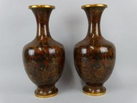 Pair of Chinese 1000 Flower Cloisonne Vases