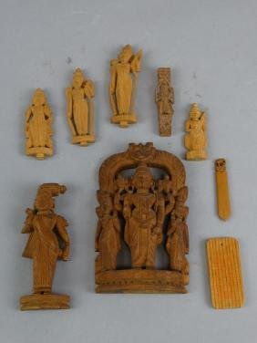 Lot of 9 Carved Wood East  Asian Figures