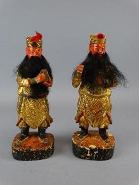 Lot of 2 Carved Gilt Wood Figures