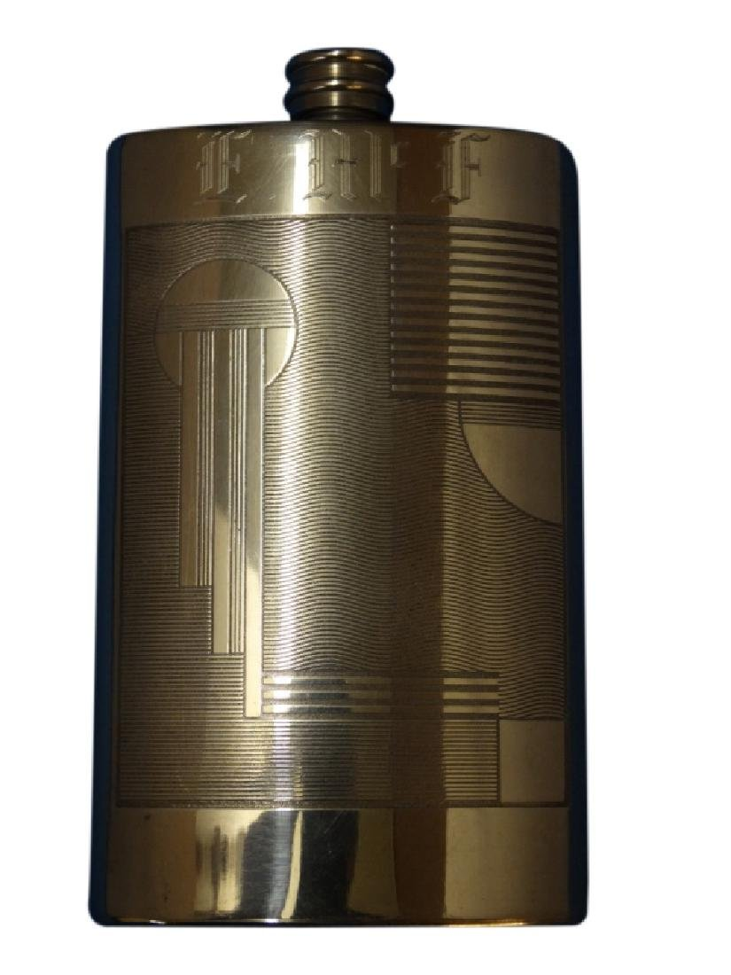 English Polished Pewter Art Deco Flask