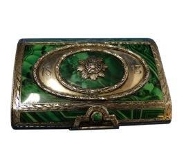 Sterling Silver & Faux Malachite Snuff Box ca.1813