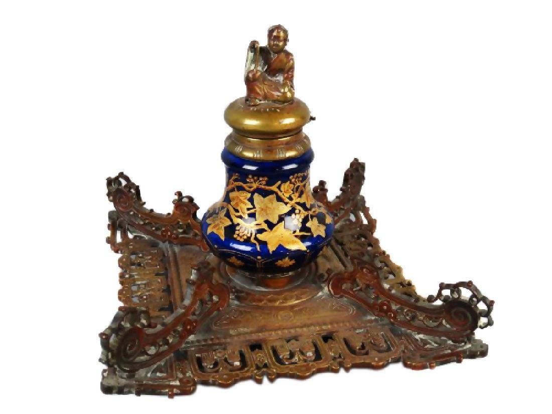 Victorian Porcelain Inkwell on Metal Base