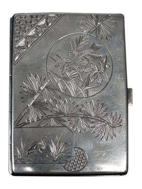English Sterling Silver Japanesque Cigarette Case