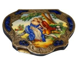 Sterling Silver & Enameled Compact  ca. 1895