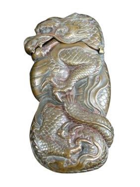 Japanese Copper Figural Dragon Match Safe