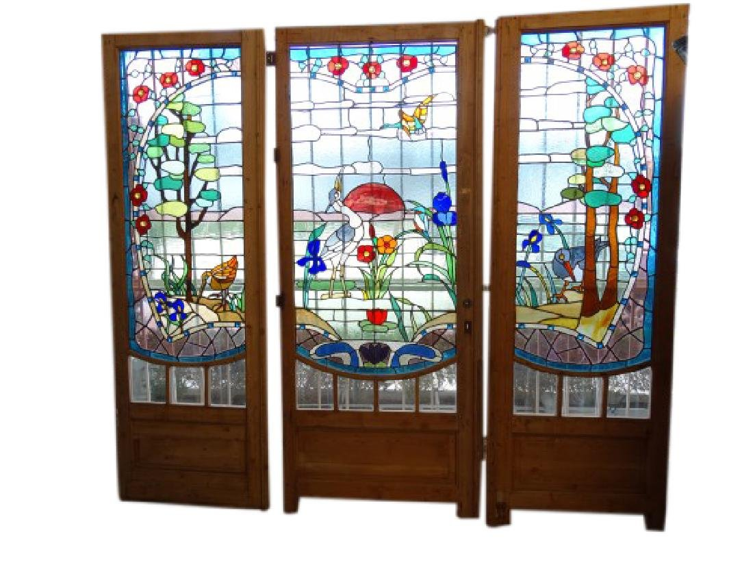 Lot of 3 Antique 8 Ft Stained Glass Doors