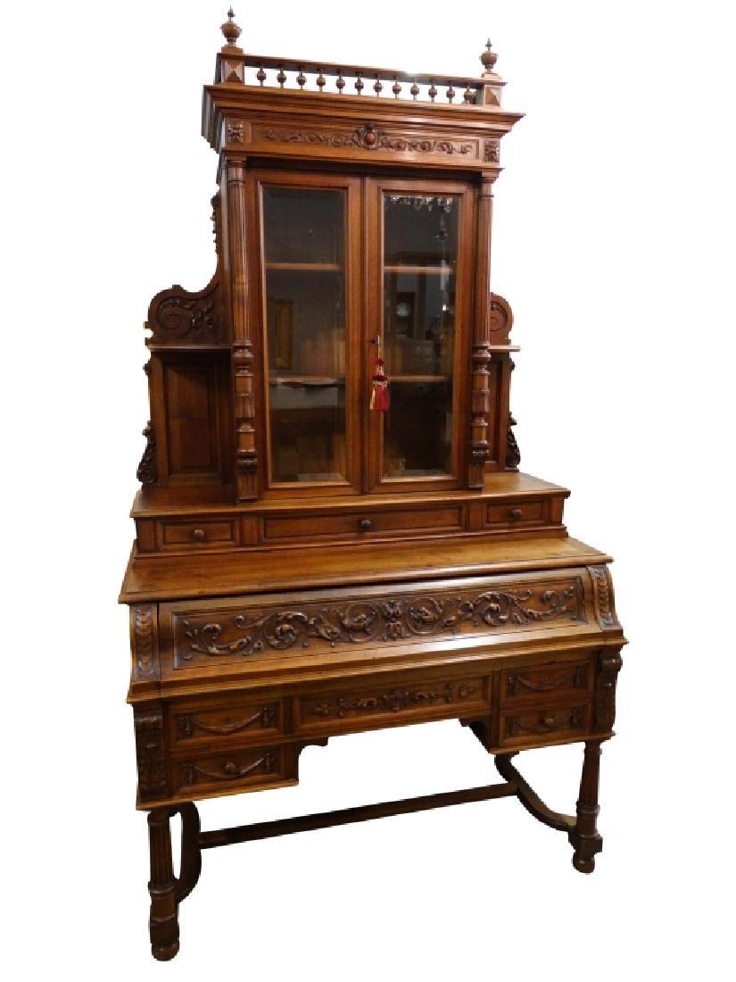 Early 19c. French Walnut Bookcase Desk