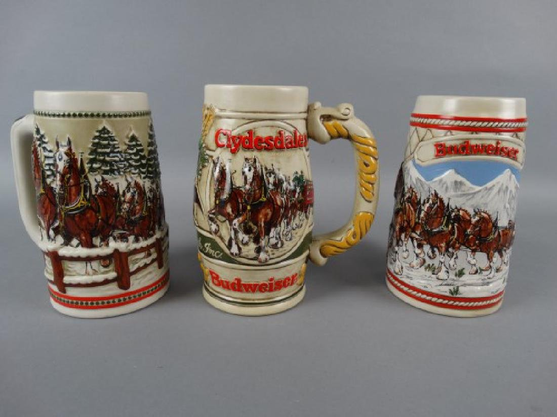 Lot of 3 Budweiser Clydesdale Beer Steins