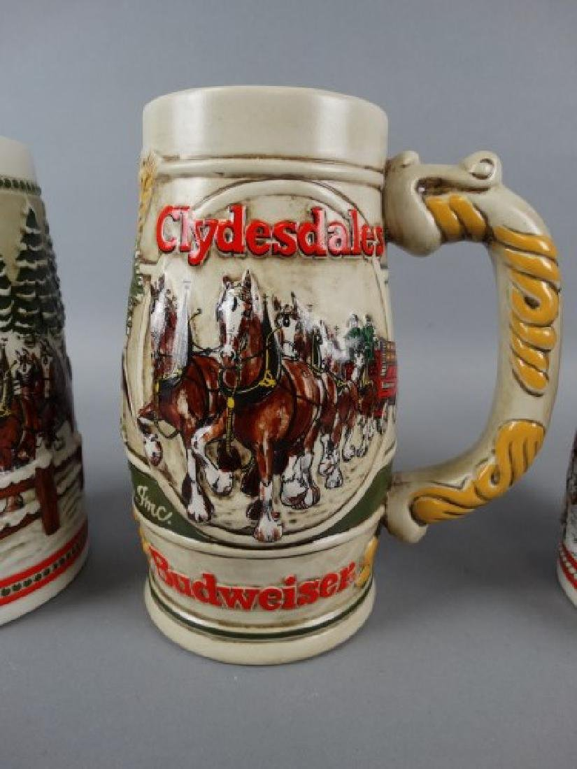 Lot of 3 Budweiser Clydesdale Beer Steins - 2