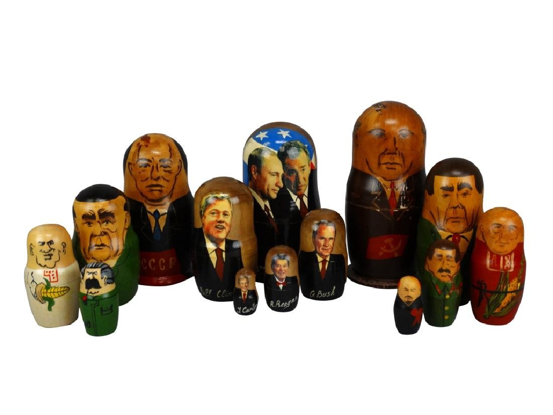 Lot of 3 Russian Political Nesting Doll Sets