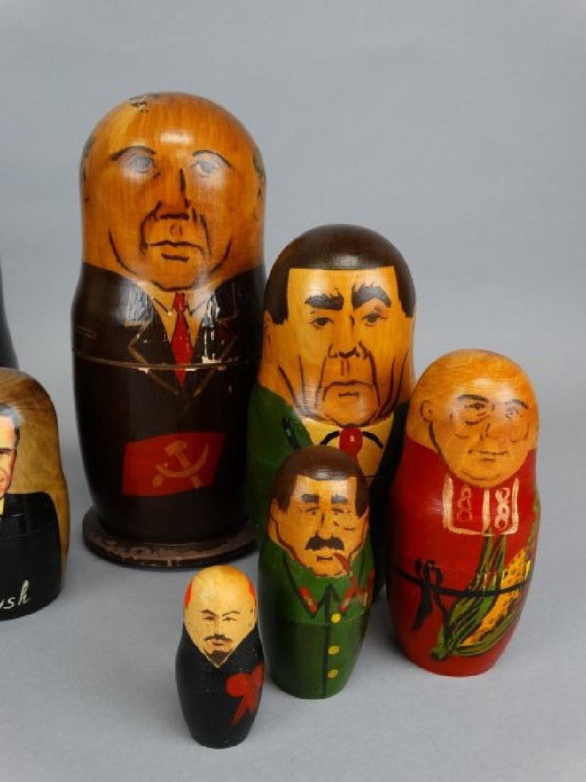 Lot of 3 Russian Political Nesting Doll Sets - 2