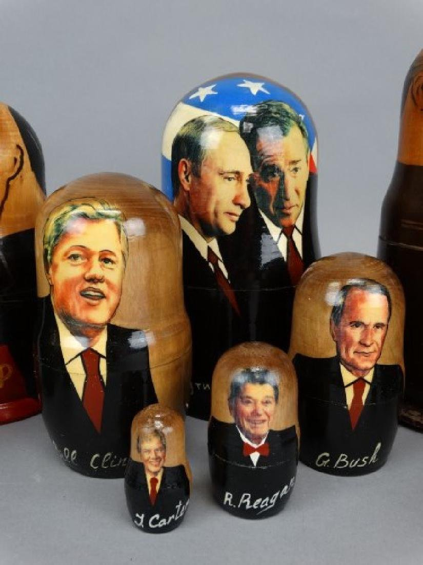 Lot of 3 Russian Political Nesting Doll Sets - 3